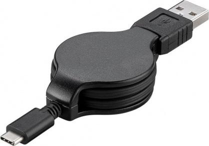 Cablu USB-C 2.0 T-T retractabil 1m Negru