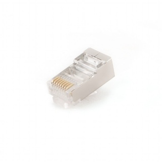 Set 10 mufe de retea RJ45 ecranate cat 5e, Gembird PLUG5SP/10