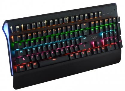 Tastatura mecanica USB anti-spill Negru, Spacer SPKB-MK-01