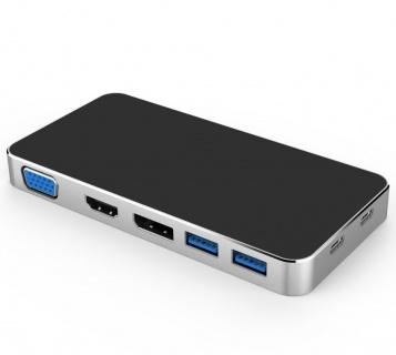 Docking station USB-C la HDMI + VGA+ DisplayPort + 2 x USB3.0 + PD, ku31dock09