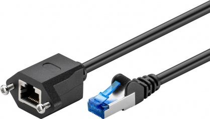 Cablu prelungitor RJ 45 CAT 6A S/FTP (PiMF) 1m Negru, Goobay 77574
