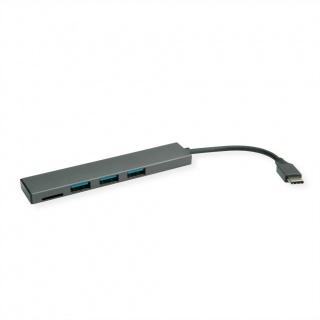 HUB ultra slim USB 3.2 Gen 1-C la 3 x USB-A + cititor carduri microSD, Roline 14.02.5051