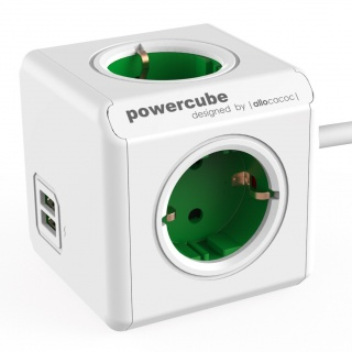 Prelungitor in forma de cub PowerCube Extended 4 prize si 2 x USB 1.5m Verde, Allocacoc