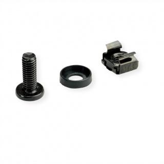 "Set 100 buc suruburi M6 montare rack/cabinet/dispozitive 19"" Negru, Roline 26.50.5005"
