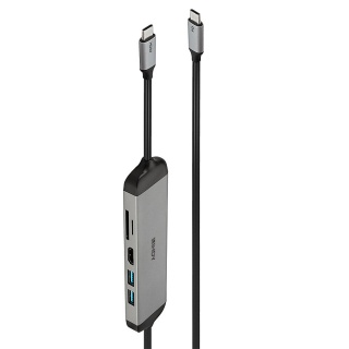 Docking station USB 3.2 Type C la HDMI 4K30Hz/2 x USB-A/Card reader PD 100W 1.4m, Lindy L43326