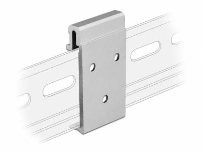 Clema de fixare din aluminiu pentru montare sina DIN cu 3 gauri, Delock 65991