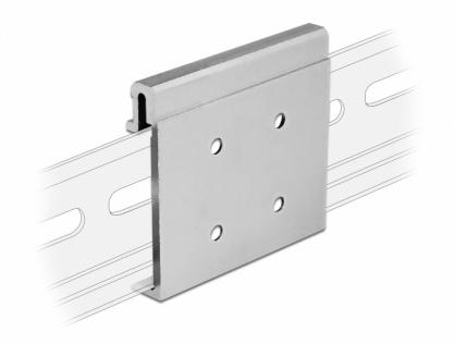 Clema de fixare din aluminiu pentru montare sina DIN cu 4 gauri, Delock 65992