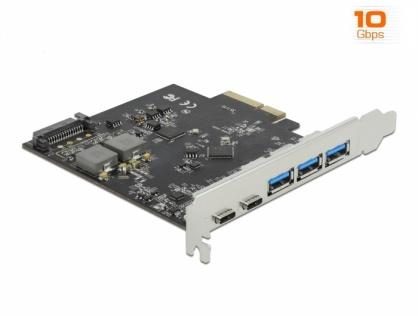 PCI Express x4 cu 2 x USB 3.2 Type-C + 3 x USB-A, Delock 89064