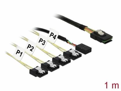 Cablu Mini SAS SFF-8087 > 4 x SATA 7 pin Reverse + Sideband 1m, Delock 83319
