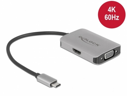 Adaptor USB type C (DP Alt Mode) la 1 x HDMI 4K60Hz + 1 x VGA cu HDR, Delock 87776