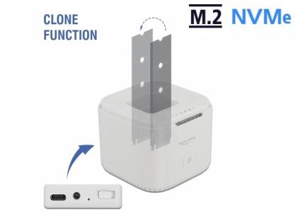Docking station USB 3.2-C Gen 2 pentru 2 x M.2 NVMe PCIe SSD cu functie de clona, Delock 63331
