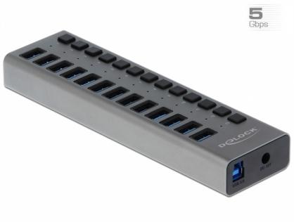 HUB cu 13 porturi USB 3.0 + Switch On/Off, Delock 63738
