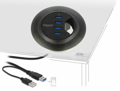 HUB in desk cu 4 x USB 3.0-A, Delock 62868