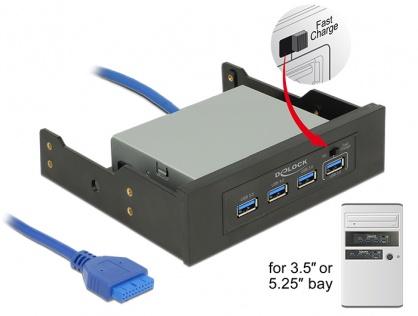 """HUB 3.5""""/5.25"""" cu 4 x USB 3.0-A, Delock 62903"""