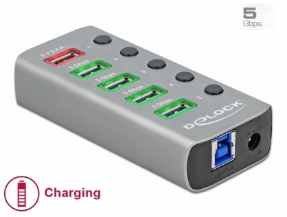 HUB USB 3.2 Gen 1 cu 4 porturi + 1 Fast Charging cu iluminare + switch ON/Off, Delock 63262