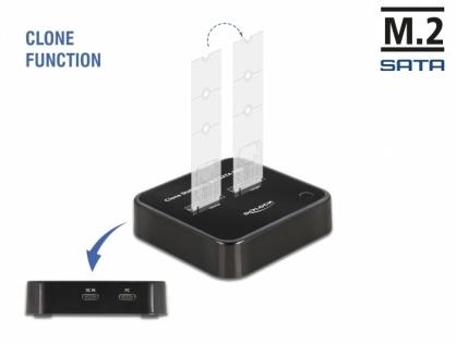 Docking station USB 3.2 Gen 2-C la 2 x M.2 SATA SSD cu functie de clona, Delock 63334