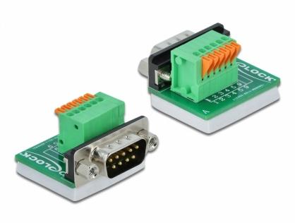 Bloc terminal D-Sub 9 pini tata cu Push button vertical, Delock 66554