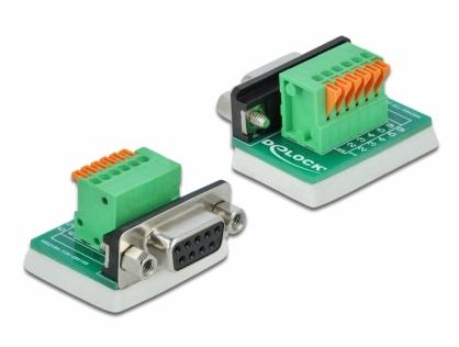 Bloc terminal D-Sub 9 pini mama cu Push button vertical, Delock 66556