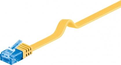 Cablu de retea RJ45 CAT 6A flat UTP 0.5m Galben, Goobay 96296