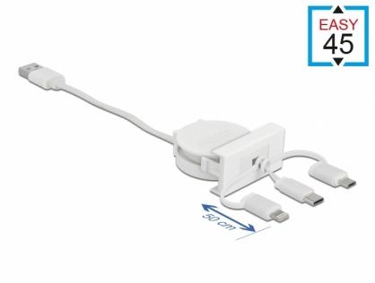 Modul Easy 45 cu cablu retrctabil USB-A 2.0 la USB-C/Micro USB/Lightning Alb, Delock 81375