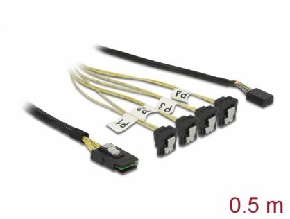 Cablu Mini SAS SFF-8087 la 4 x SATA 7 Pini + Sideband 0.5m, Delock 85683