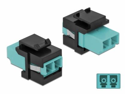 Keystone fibra optica LC Duplex Multi mode M-M Aqua/Negru, Delock 86720