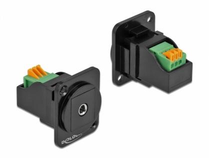 Modul D-type jack stereo 3.5 mm 3 pini la bloc terminal, Delock 86732