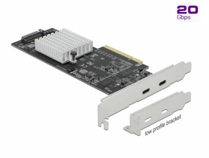 PCI Express cu 2 porturi externe SuperSpeed USB 20 Gbps (USB 3.2 Gen 2x2)-C Dual Channel LPFF, Delock 89011
