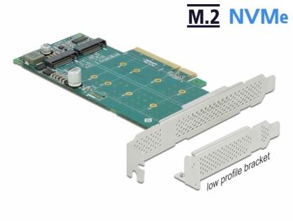 PCI Express cu 2 porturi NVMe M.2 Key M - Bifurcation LPFF, Delock 89045