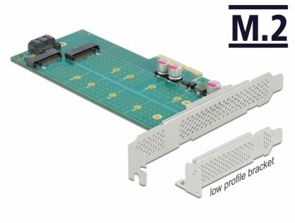 PCI Express cu 1 x M.2 Key B + 1 x NVMe M.2 Key M LPFF, Delock 89047