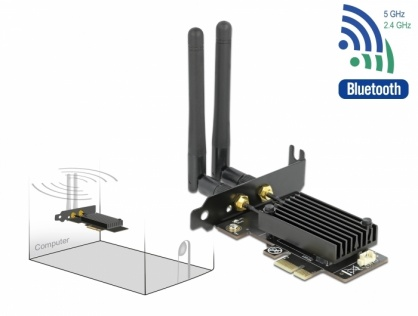 PCI Express Dual band Wi-Fi 6 WLAN ax/ac/a/b/g/n 2400 Mbps + Bluetooth 5.1, Delock 89049
