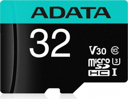 Card de memorie micro SDHC Premier Pro 32GB clasa 10 UHS-I U3 + adaptor SD, ADATA AUSDH32GUI3V30SA2-RA1