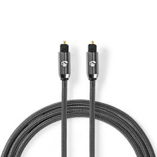 Cablu audio optic Toslink SPDIF 1m brodat, Nedis CATB25000GY10
