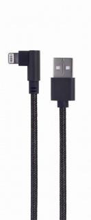 Cablu de date si alimentare USB la iPhone Lightning unghi 0.2m Negru, Gembird CC-USB2-AMLML-0.2M