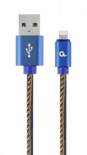 Cablu USB 2.0 la iPhone Lightning Premium jeans (denim) 2m, Gembird CC-USB2J-AMLM-2M-BL