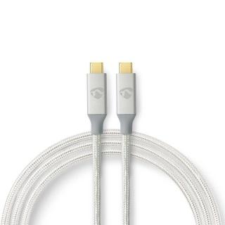 Cablu USB 3.2-C Gen 2 T-T 20Gb/s 5A/100W 1m brodat Argintiu, Nedis CCTB64020AL10