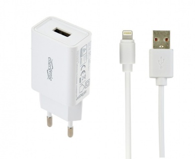 Incarcator priza 1 x USB-A 5V / 2.1A + cablu USB la Lightning, Gembird EG-UCSET-8P-MX-white