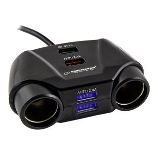 Incarcator auto 2 porturi bricheta + 4 x USB, ESP-EZ132