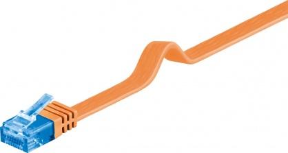 Cablu de retea RJ45 CAT 6A flat UTP 0.5m Orange, Goobay 96299