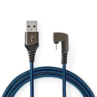 Cablu de date si incarcare USB-A la Apple Lightning MFI unghi 180 grade 1m, Nedis GCTB39300AL10