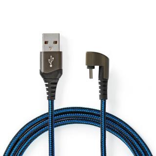 Cablu USB 2.0-A la USB-C unghi 180 grade 2m, Nedis GCTB60600BK20