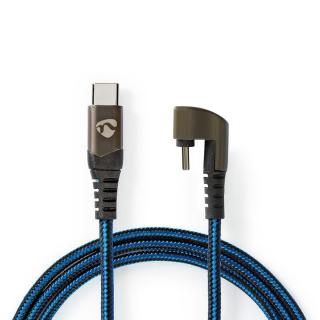 Cablu USB 2.0-C la USB-C unghi 180 grade 2m, Nedis GCTB60700BK20