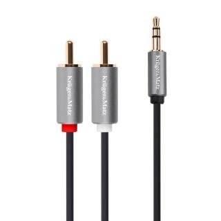 Cablu audio jack 3.5mm la 2 x RCA T-T 10m, KM1215