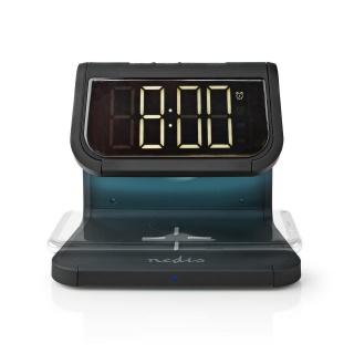 Ceas cu alarma si incarcare wireless Qi 10W Negru, Nedis WCACQ10W1BK