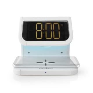 Ceas cu alarma si incarcare wireless Qi 10W Alb, Nedis WCACQ10W1WT