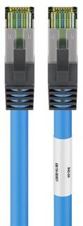 Cablu de retea CAT 8.1 S/FTP (PiMF) 0.25m Blue, Goobay G45657