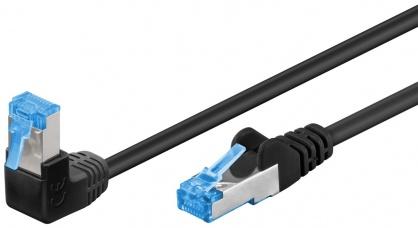 Cablu de retea cat 6A SFTP LSOH cu 1 unghi 90 grade 0.5m Negru, Goobay G51556