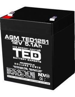 Acumulator pentru UPS AGM VRLA 12V 5.1A, TED1251