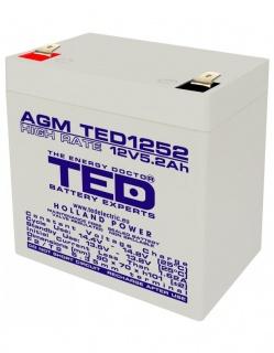 Acumulator pentru UPS AGM VRLA 12V 5.2A, TED1252