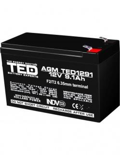 Acumulator pentru UPS AGM VRLA 12V 9.1A, TED1291